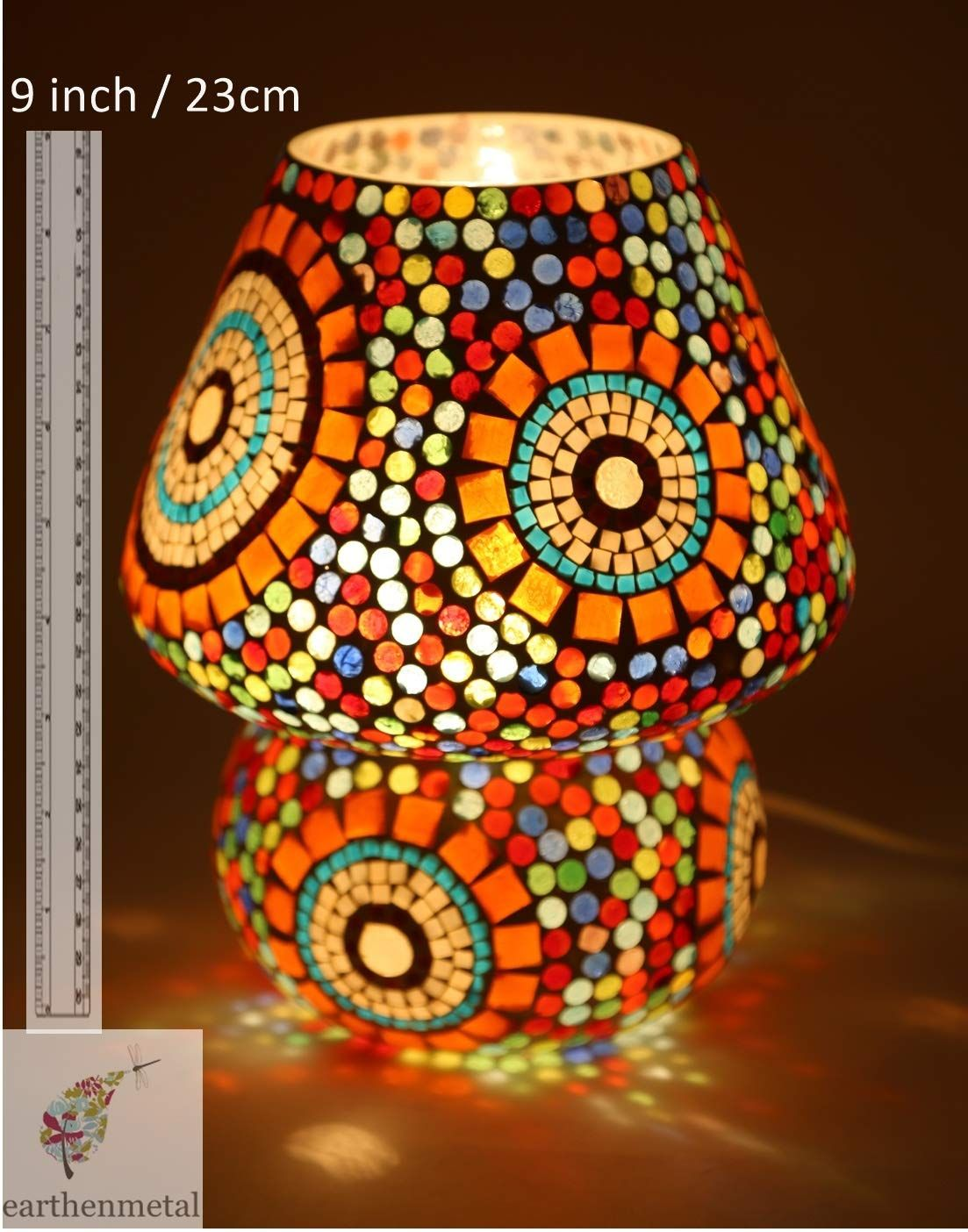 Earthenmetal Mosaic Style Dome Shaped Glass Table Lamp Glass Table Lamp Glass Table Lamp