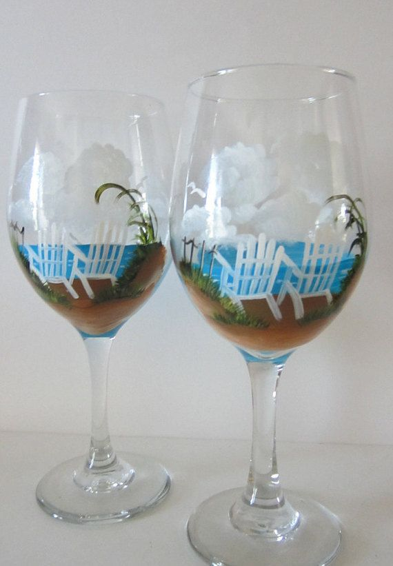 2 Hand Painted **Beach Chair ** Wine Glasses | painted ...