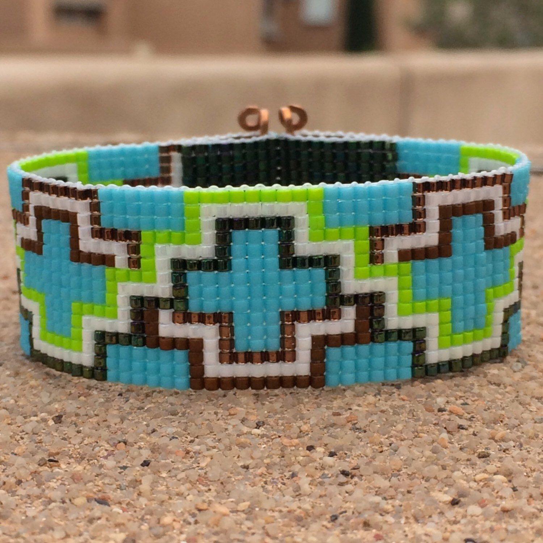 The ABQ Bead Loom Bracelet Artisanal Jewelry Native Motif Western Beaded Gypsy Boho Bohemian Native American by PuebloAndCo on Etsy https://www.etsy.com/listing/236023226/the-abq-bead-loom-bracelet-artisanal