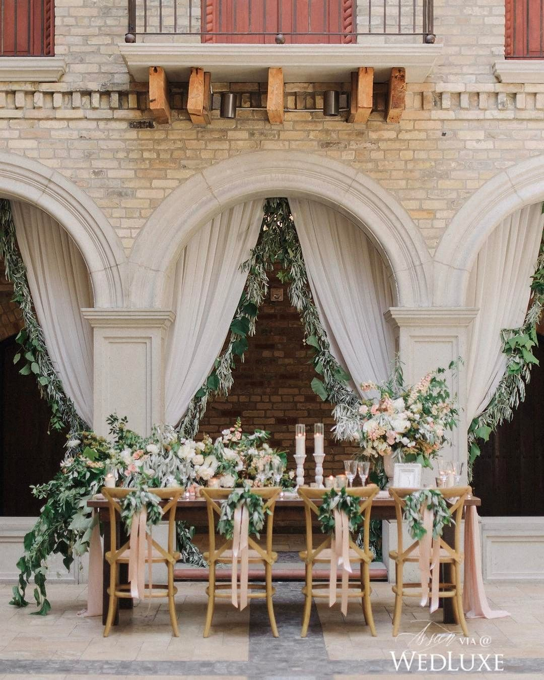 This dreamy outdoor tablescape ladder with