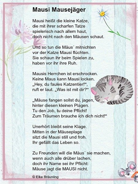 Mausi Mausejäger. Ein Gedicht mit Katz\' und Maus | Gedicht, Mausi ...