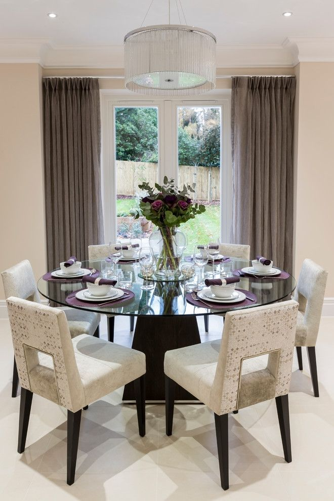 Round glass dining table decor - Round glass tables for living room ...
