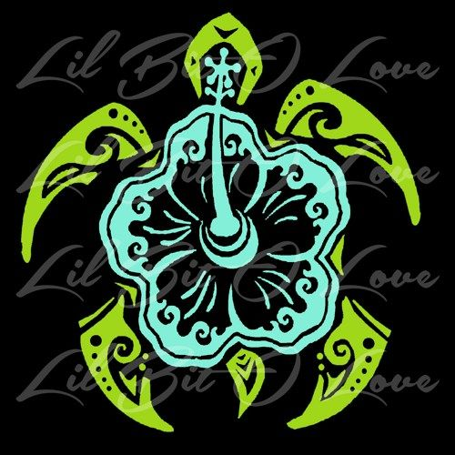 Hibiscus sea turtle tribal vinyl decal in 2 colors beach tortoise car