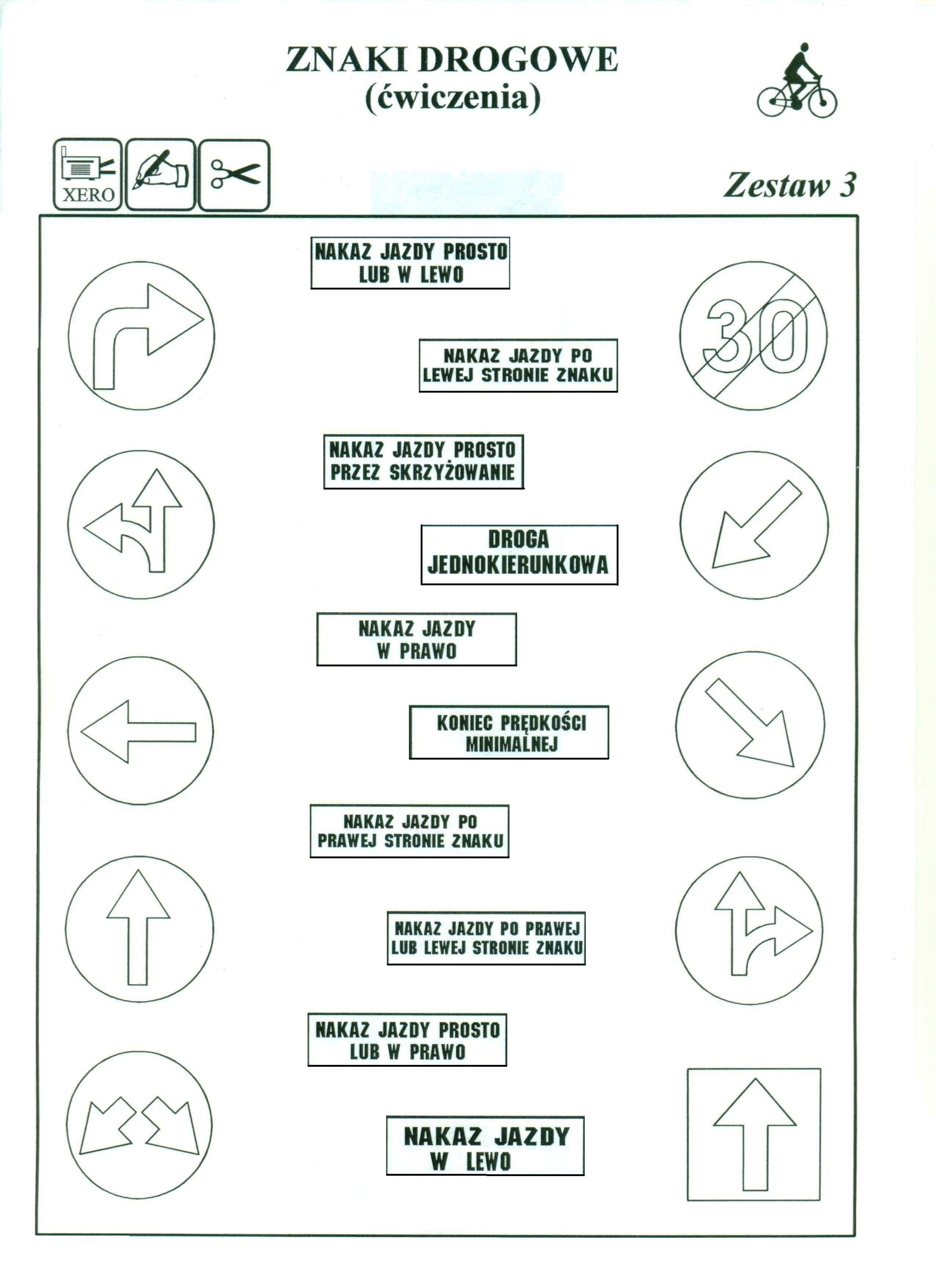 przykładowe testy na karte rowerową kl 4