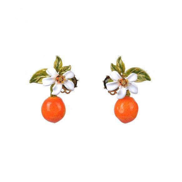 Boucles d'oreilles orange et fleur d'oranger