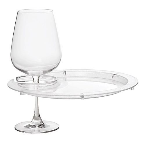 Round acrylic appetizer party plates and wine glass holder. Each party plate is 9\  in diameter and has a holder for your wine glass.  sc 1 st  Pinterest & Round Appetizer Plates with Wine Glass Holder | Wine glass holder ...