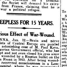 14 Jan 1930 Sleepless For 15 Years Curious Effect Of War Wo Sleepless States Of Consciousness 15 Years
