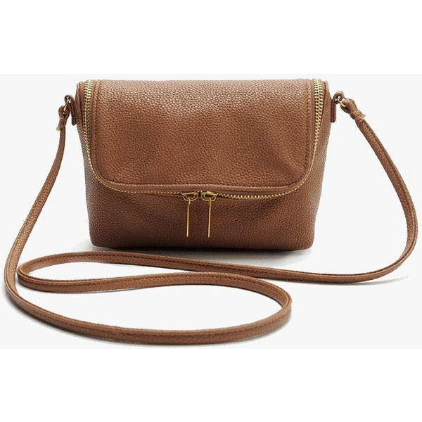 42b344007158 Brown Faux Leather Soft Mini Crossbody Bag ( 25) ❤ liked on Polyvore  featuring bags