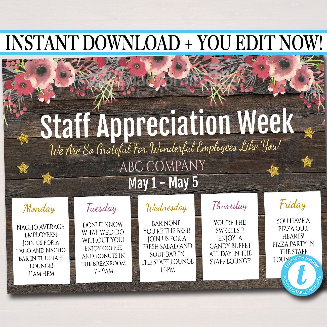 Editable Staff Appreciation Week Itinerary Poster Digital File Appreciation Week Schedule Events Instant Download Fundraiser Printables Staff Appreciation Week Staff Appreciation Staff Appreciation Gifts