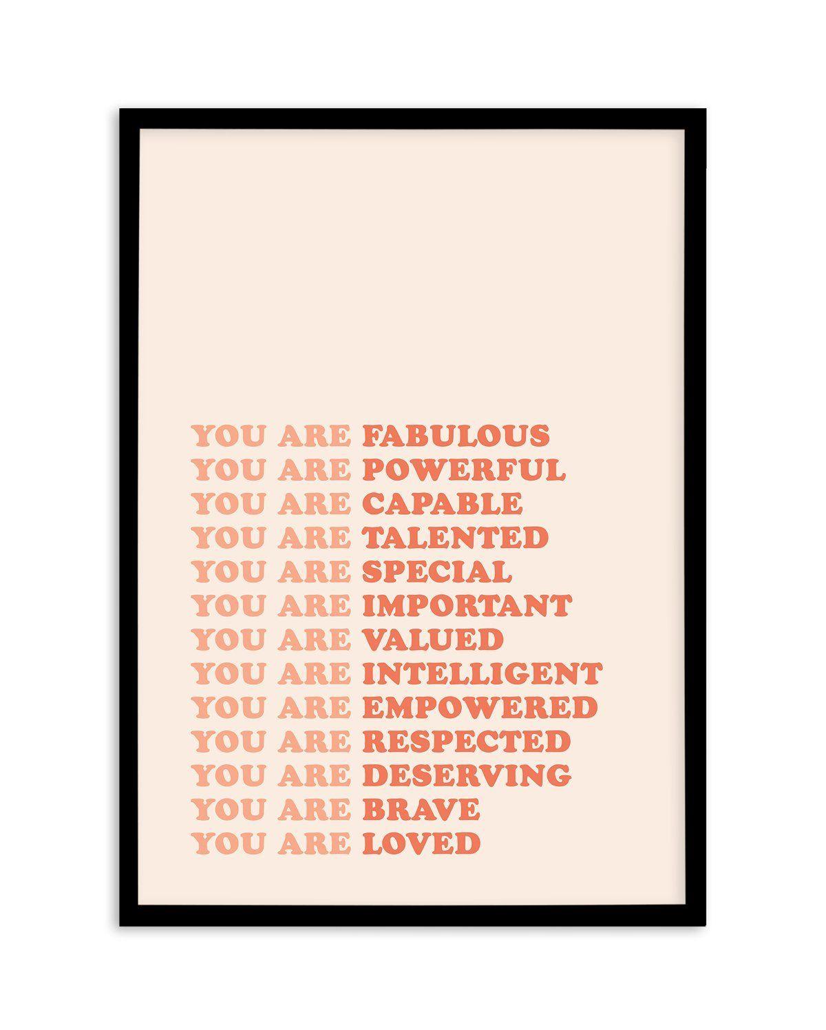 You Are Fabulous - A2 (42cm x 59.4cm | 23.4 x 16.5 | 420mm x 594mm) / Black