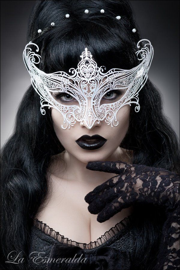 Venetian Black Lace Filigree Masquerade Ball Mask Gothic fancy dress Party Pearl