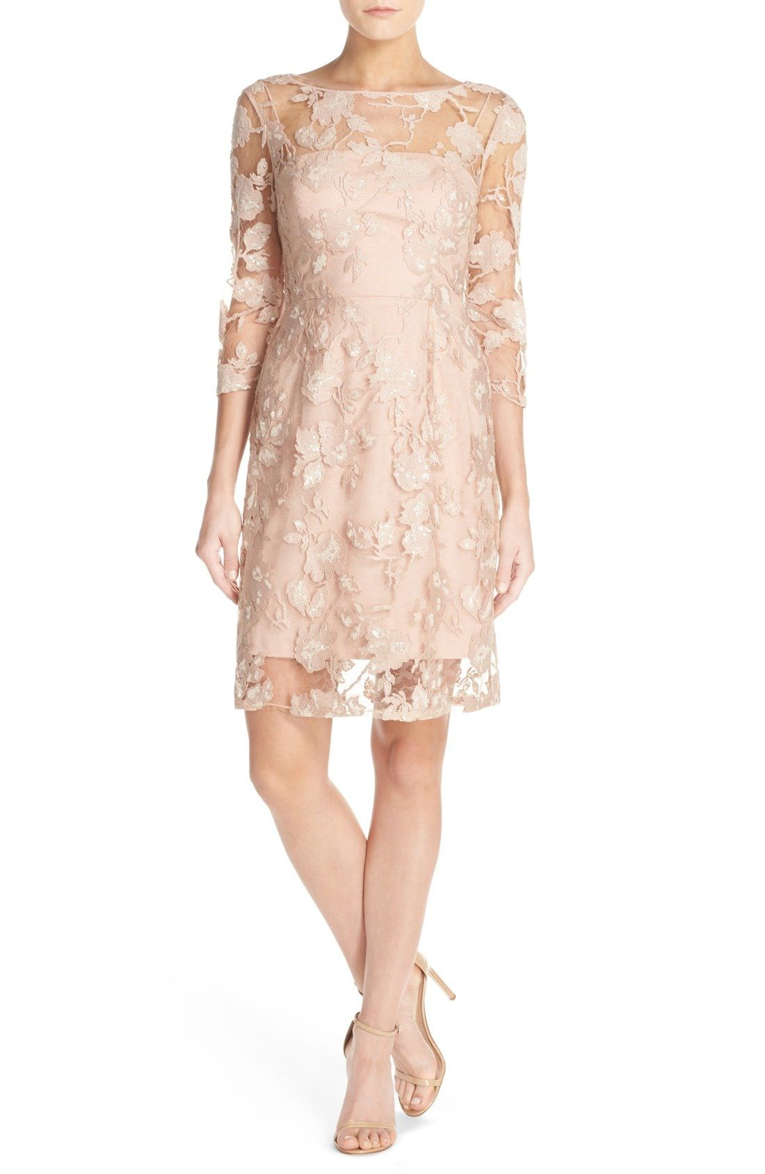 Nordstrom dresses wedding guest  Vera Wang Sequin Embroidered Lace ALine Dress available at