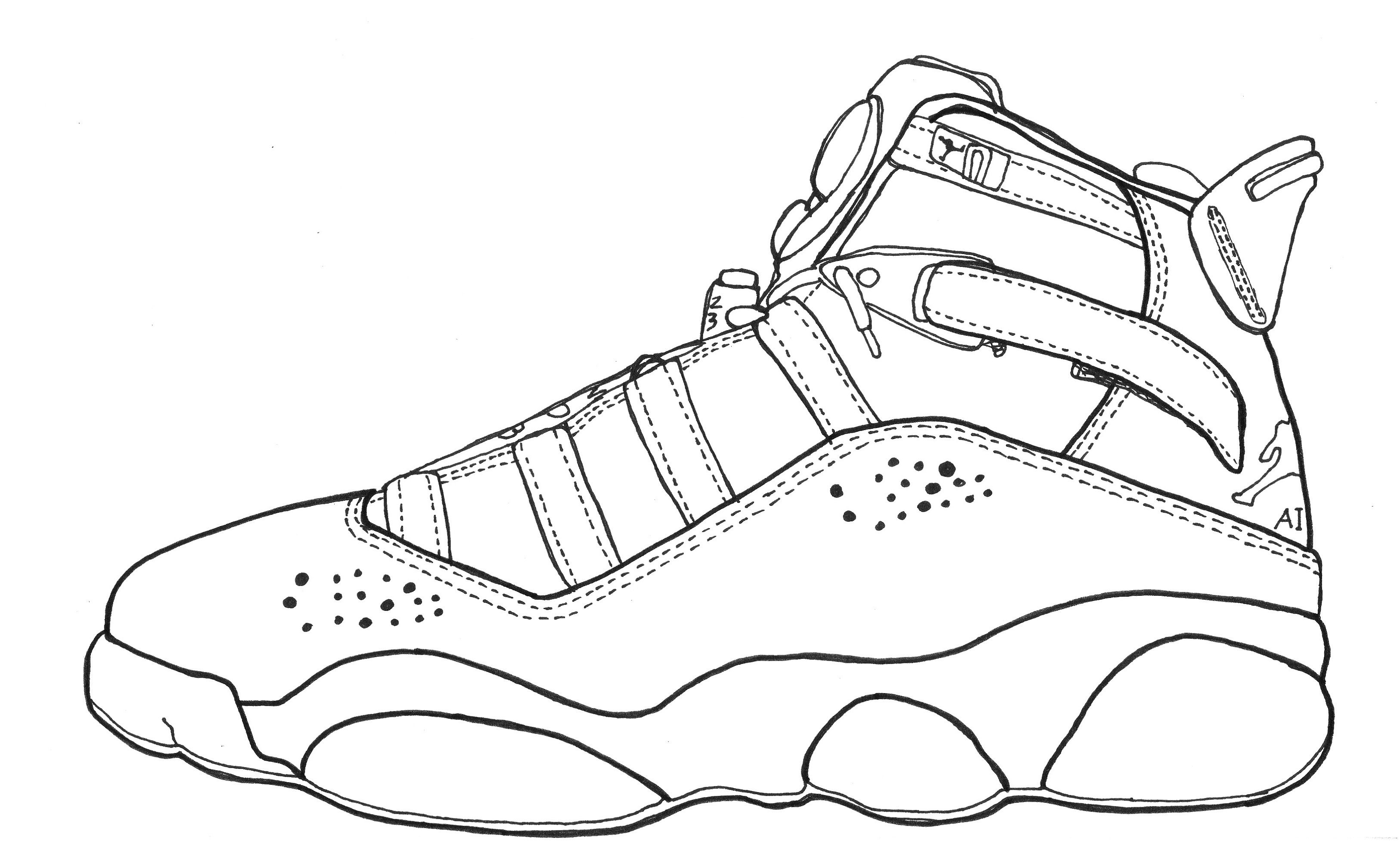 Nike Basketball Shoes Coloring Pages to Printable Pictures ... | 2000x3251