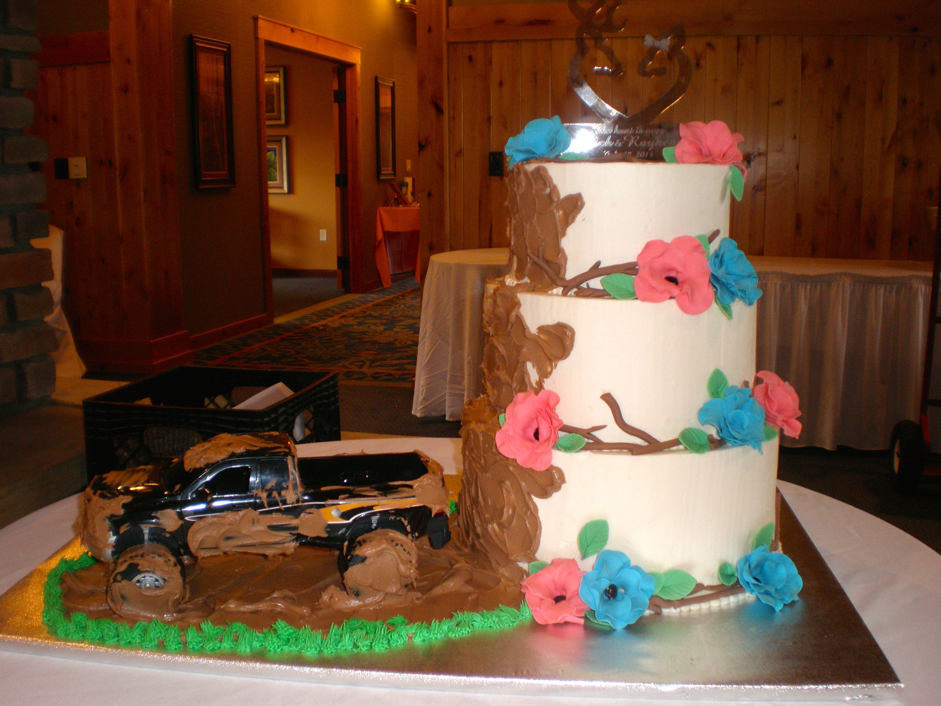 "Mud Slinging Truck Wedding Cake ""The Hunt Is Over"