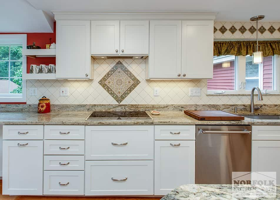 Transitional White Kitchen With Italian Tile Kitchen Classic
