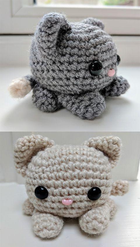 Cube Kitty Cat Free Crochet Pattern | Crocheted.eu #kittycats