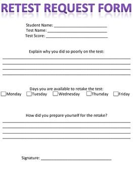 Retest Request Form | High School Curriculum and Lessons for