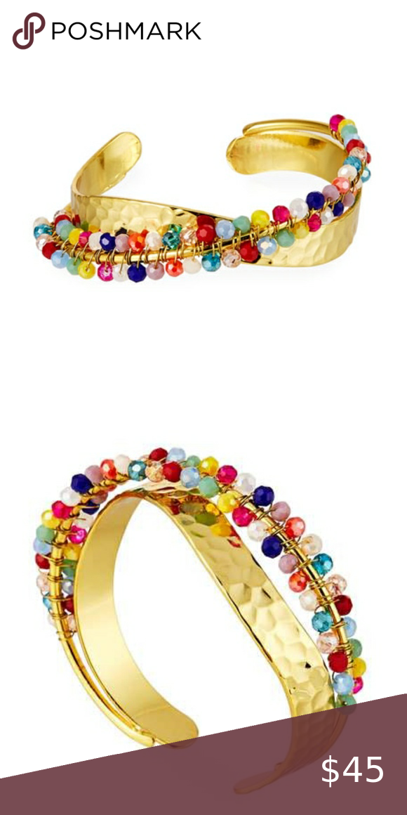 New Panacea Crystal-Beaded Cuff Bracelet