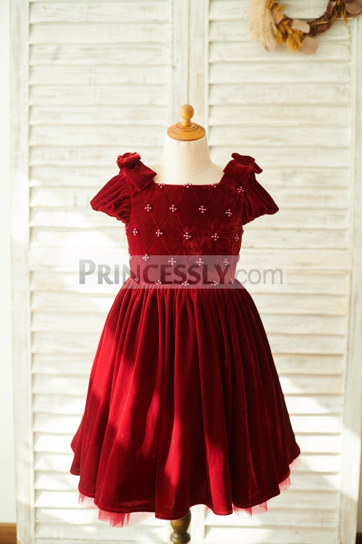 946fcfc76ab Burgundy Velvet Corset Back Cap Sleeves Wedding Flower Girl Dress in ...