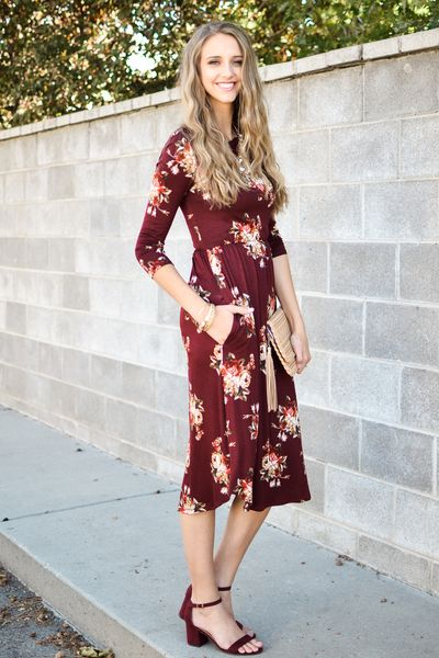 Carly Fit and Flare Floral Dress In Burgundy - My Sisters Closet