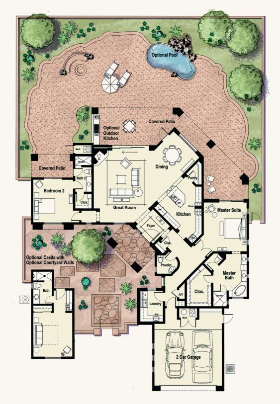Gadsden Interesting Small Plan With Courtyard Courtyard House Plans Dream House Plans Courtyard House