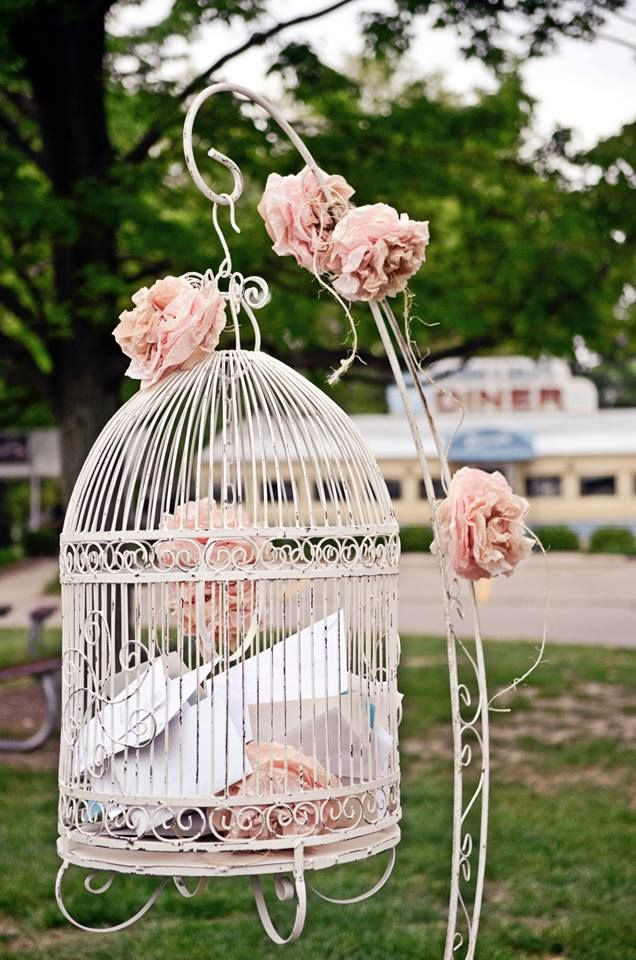 We Loved The Paper Poms On Our Vintage Birdcage Rustic Card Box Wedding Rustic Wedding Card Holder Wedding Gift Card Box