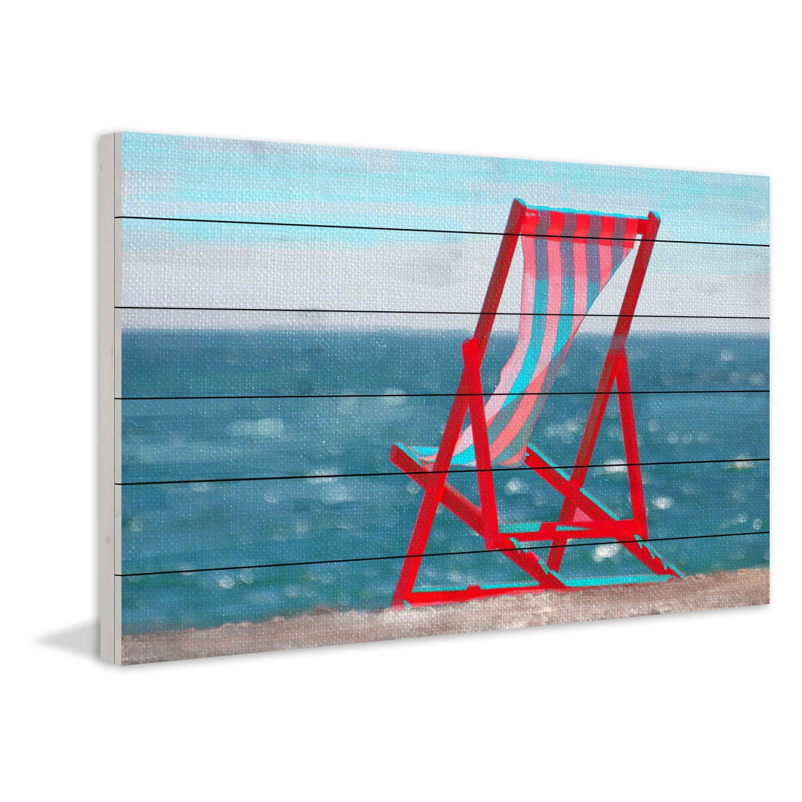 Marmont Hill Red Beach Chair Painting Print On Wood Wall Art