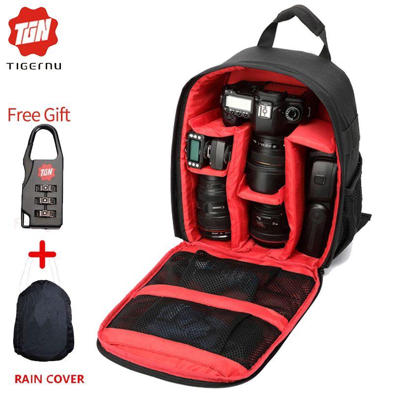 c1e7d60ec596 2017 Digital DSLR Camera Bag Waterproof Photo backpack Tigernu Brand  Photography Camera Video Bag Small Travel