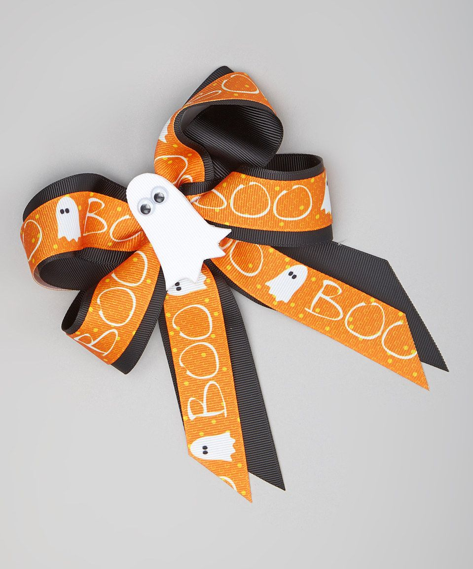 Another great find on #zulily! Orange & Black 'Boo' Ghost Bow Clip by Picture Perfect Hair Bows #zulilyfinds