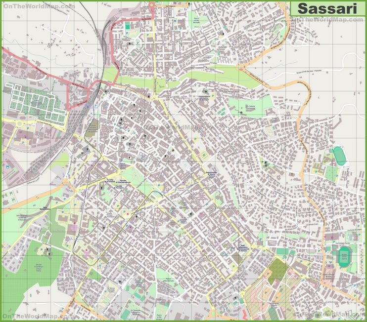 Large detailed map of Sassari Maps Pinterest Italy