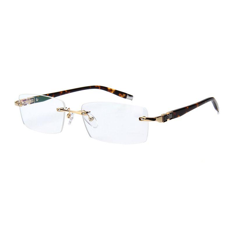 wooden feet mens rimless eyeglass frames High-end business optical ...