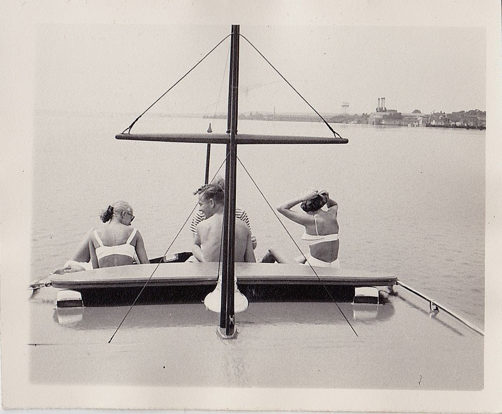 Old Antique Vintage Photograph People In Bathing Suits From Back on Boat