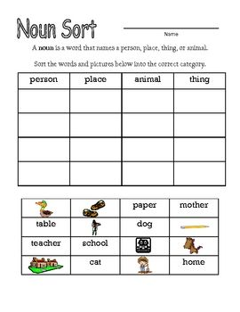 noun sorting activity noun worksheets nouns kindergarten nouns worksheet sorting activities. Black Bedroom Furniture Sets. Home Design Ideas