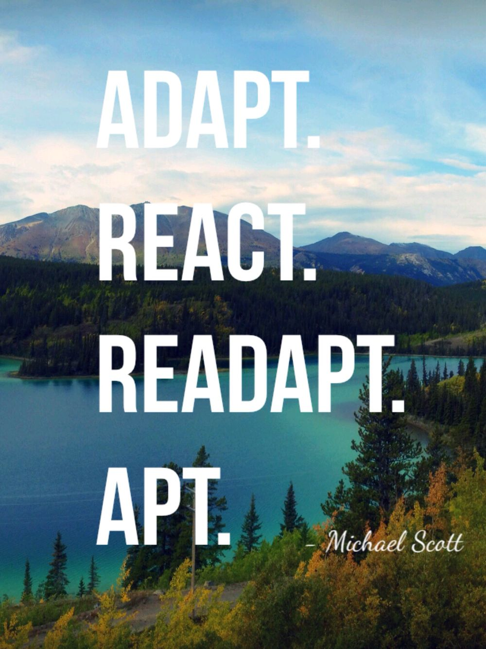 Adapt React Readapt Apt Michael Scott The Office Funny Quote Picture Funny Picture Quotes Michael Scott Adaptations