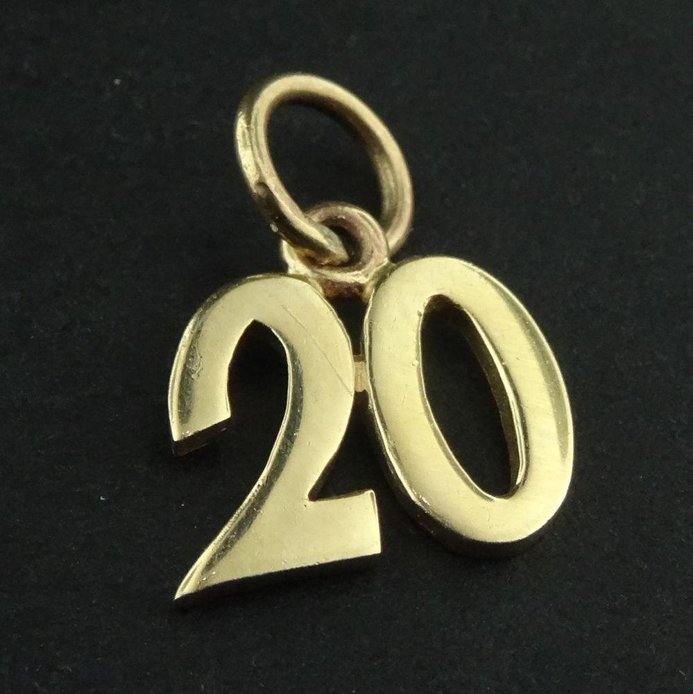 Rare Retired James Avery 14k Yellow Gold Number 20 Twenty