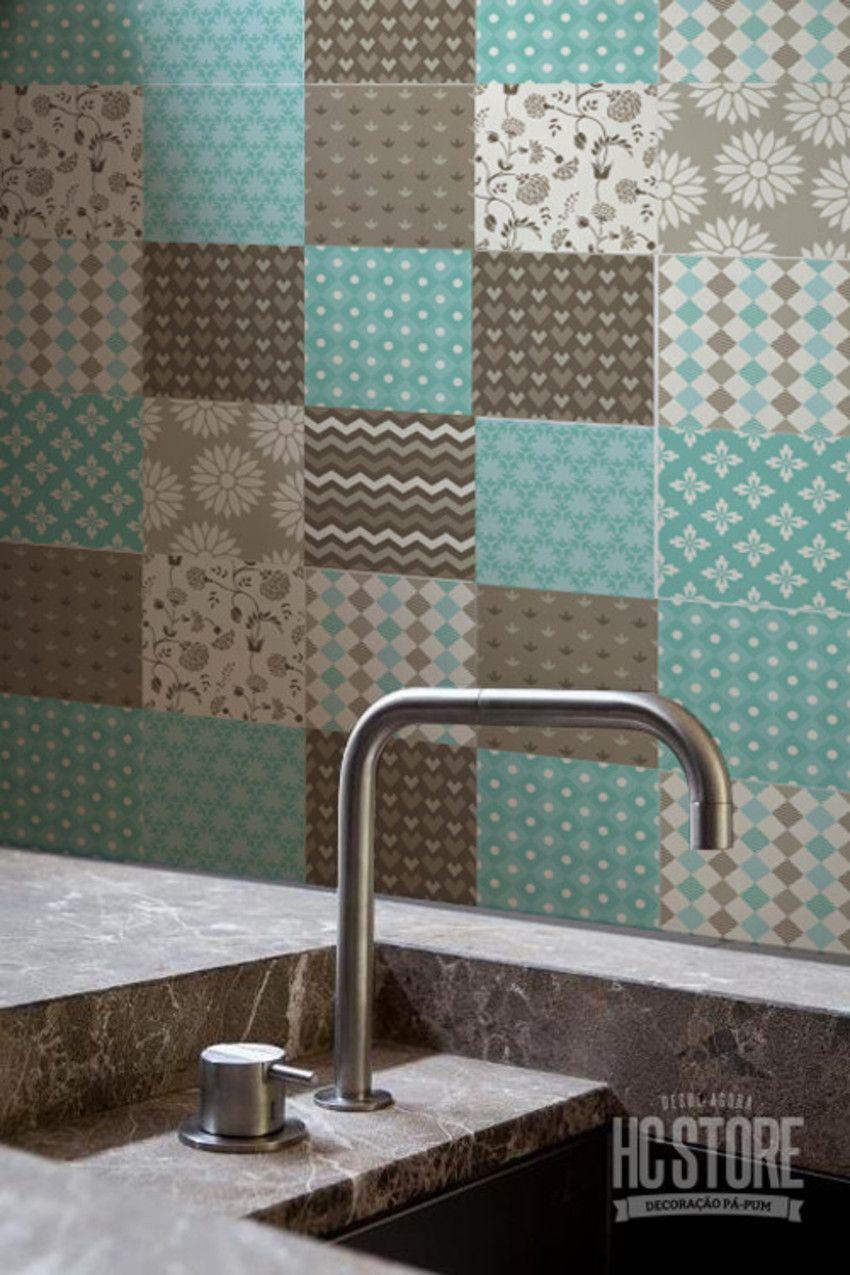 Artesanato Xavantes ~ Adesivos para Azulejo Floral Verde Tamanho 15x15cm Material Vinil Adesivo Impress u00e3o digital de