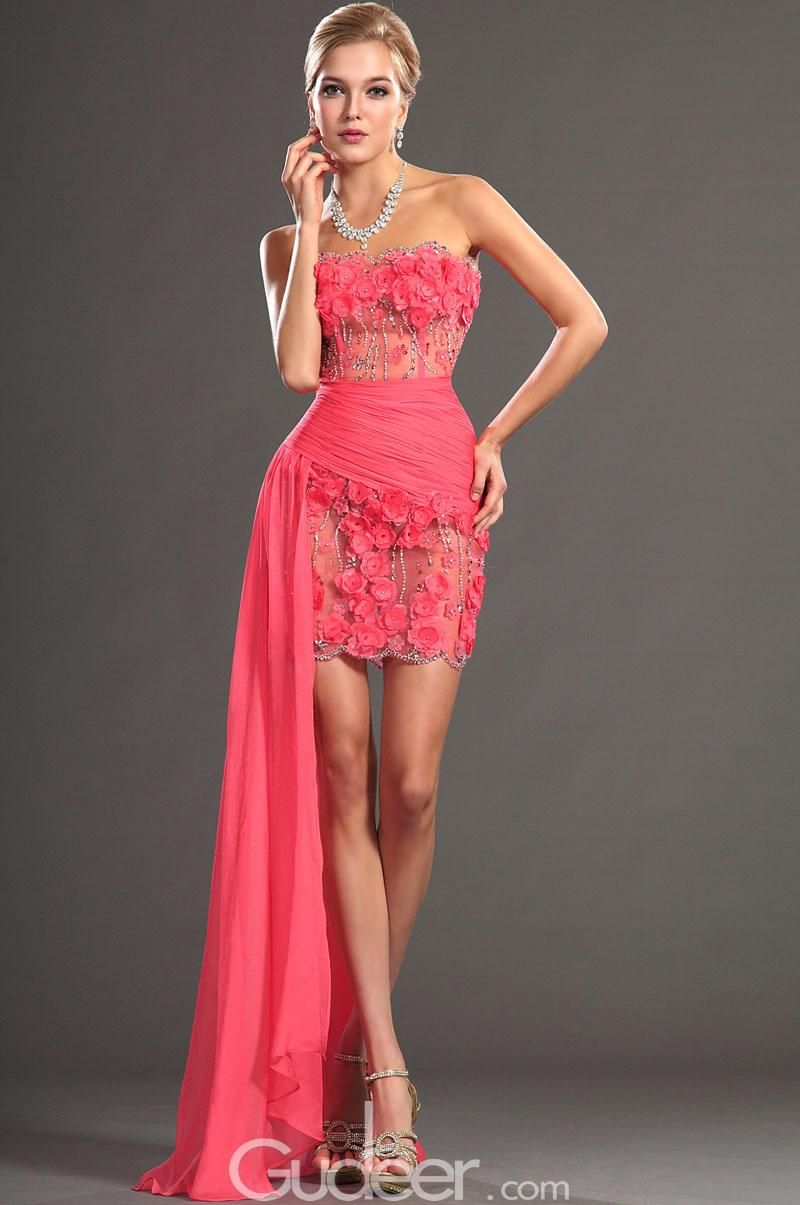 gorgeous strapless scalloped neck hot pink flowers beaded cocktail ...