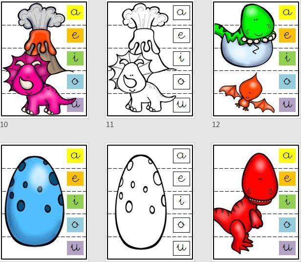 Cuaderno de puzzles de dinosaurios para trabajar las vocales | LECTO ...