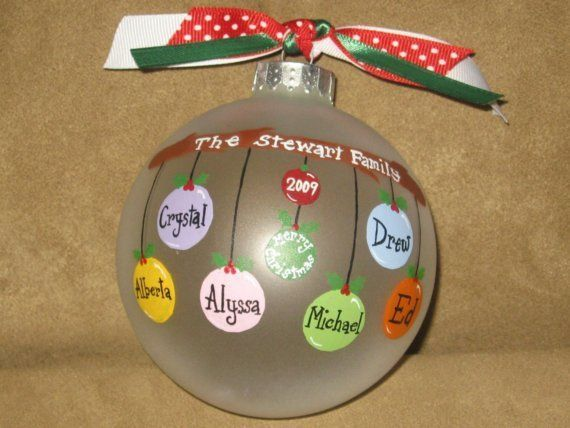 Personalized Family Ornaments Glass By Overtheedgeornaments 16 00 Christmas Ornament Crafts Personalized Family Ornaments Xmas Crafts