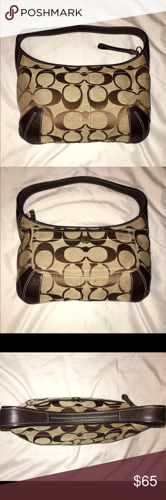 9ecf72dd7f3 Coach Signature Canvas and Leather Hobo Bag A Coach Soho signature hobo  style bag. This