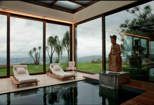 Find a moment of zen next to this clear indoor pool, no matter the weather.