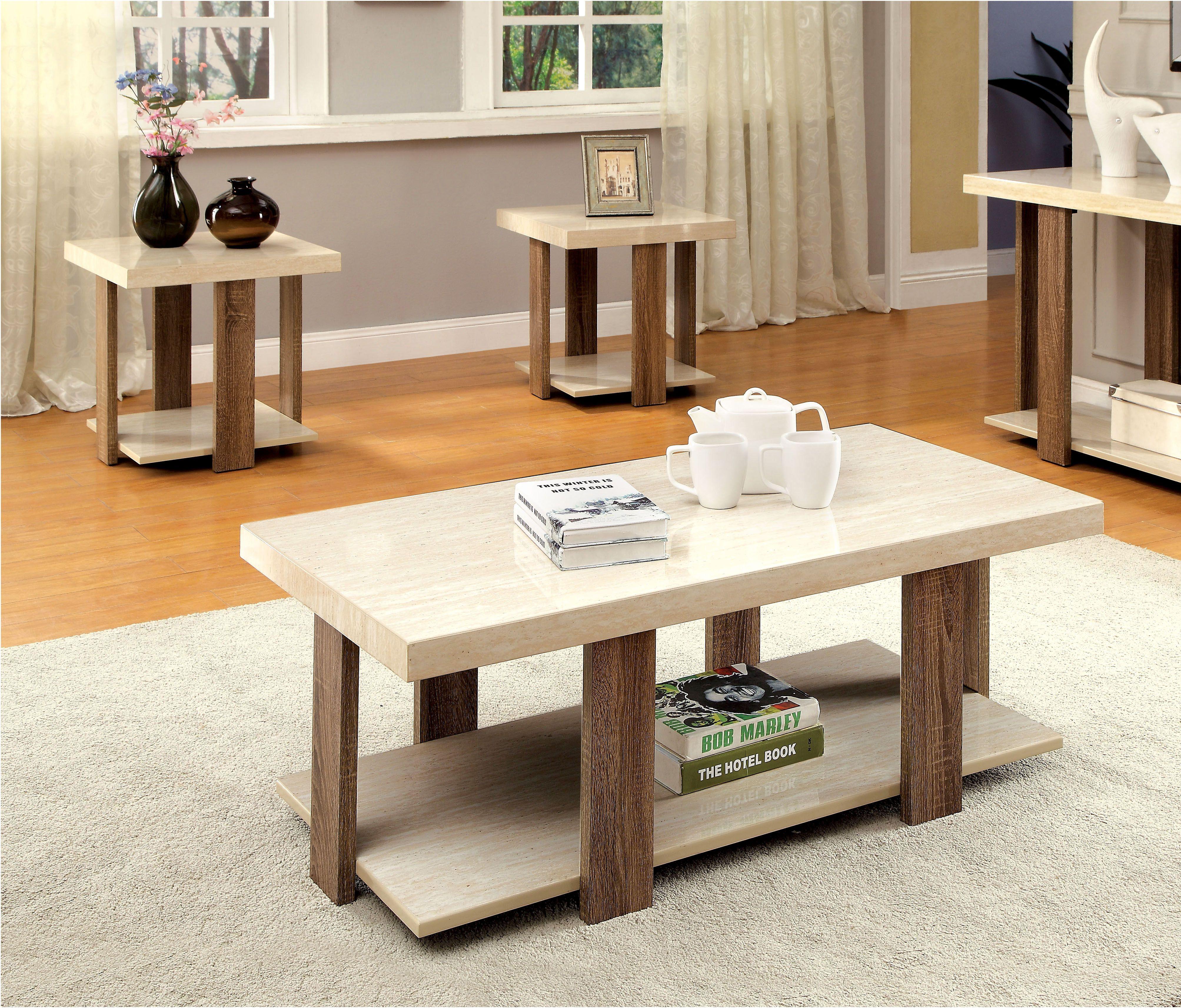 Lakoti Ii Light Oak Solid Wood Faux Marble 3pc Pack Coffee Table
