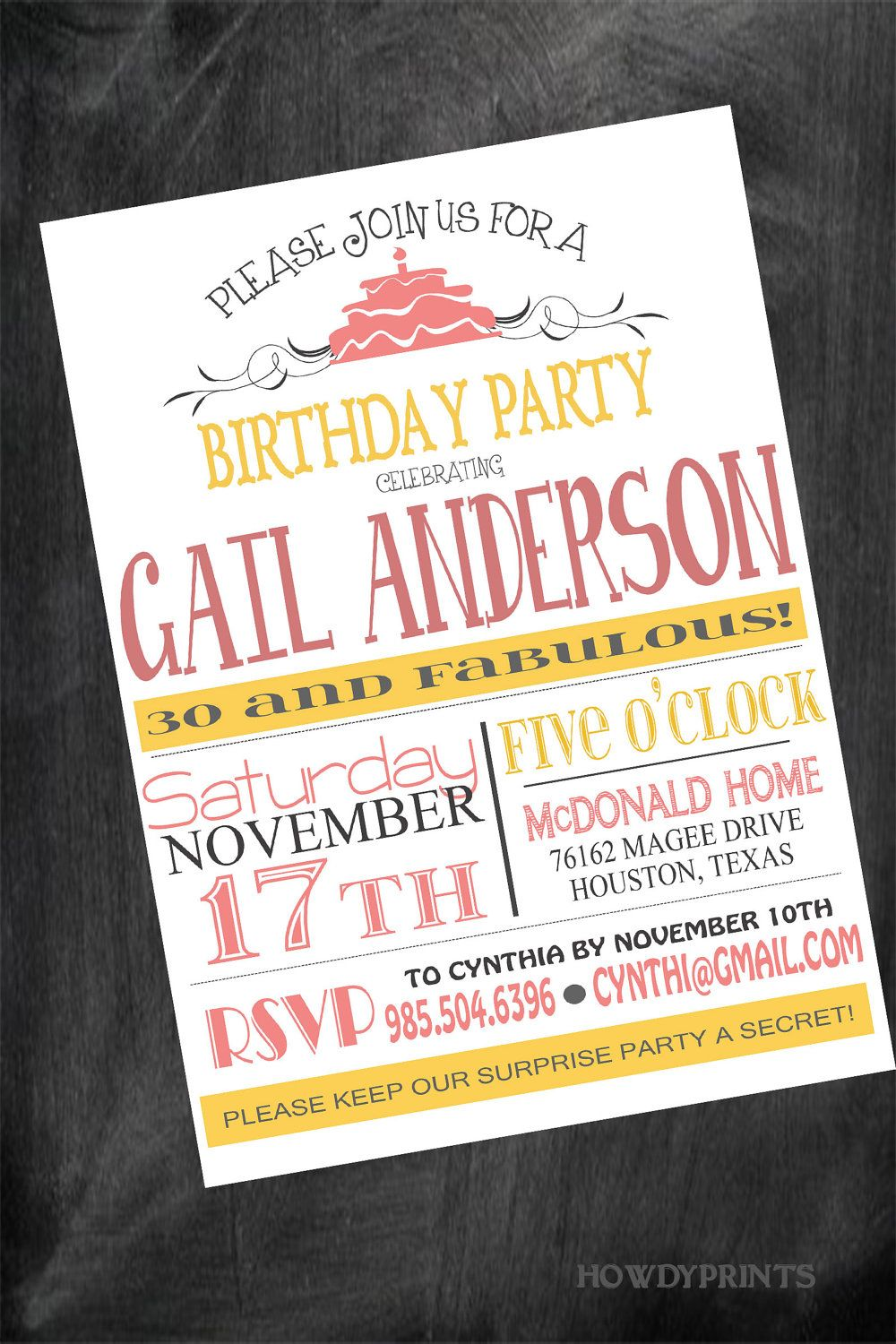 Any AGE Birthday Invitation,Wording and COLOR can be changed to ...