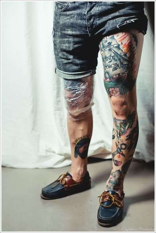 9becf8234efad Pirate Ship Tattoo On Thigh | Tattoos | Traditional thigh tattoo ...