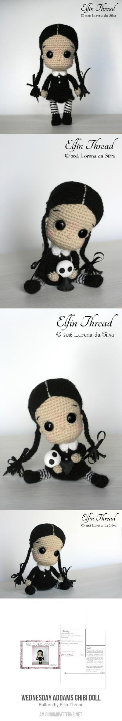 Wednesday Addams Chibi Doll amigurumi pattern by Elfin Thread ...