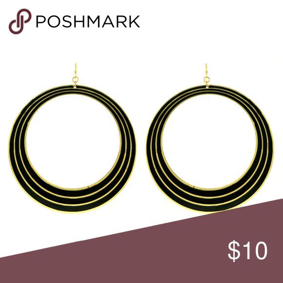 Large GoldTone Hoop Earrings With Black Circle Large Gold