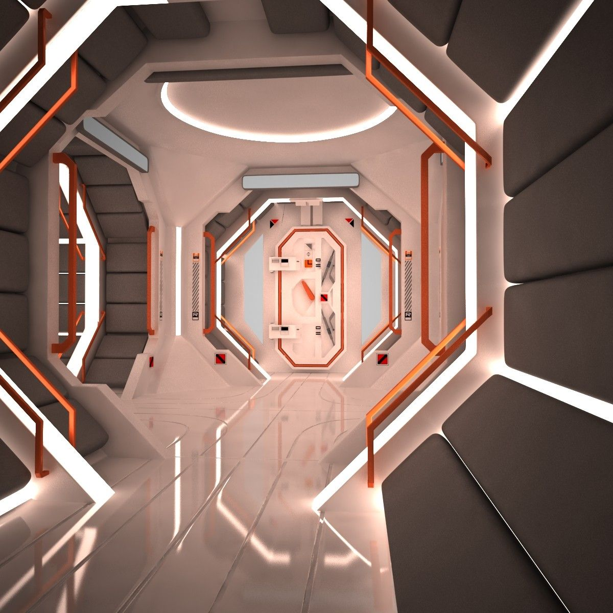 futuristic corridor interior scene 3d model sci fi interior references pinterest cinema. Black Bedroom Furniture Sets. Home Design Ideas