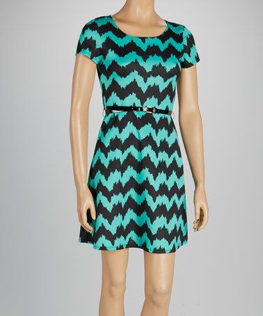 Take a look at this Jade & Black Zigzag Belted A-Line Dress by Star Vixen on #zulily today!