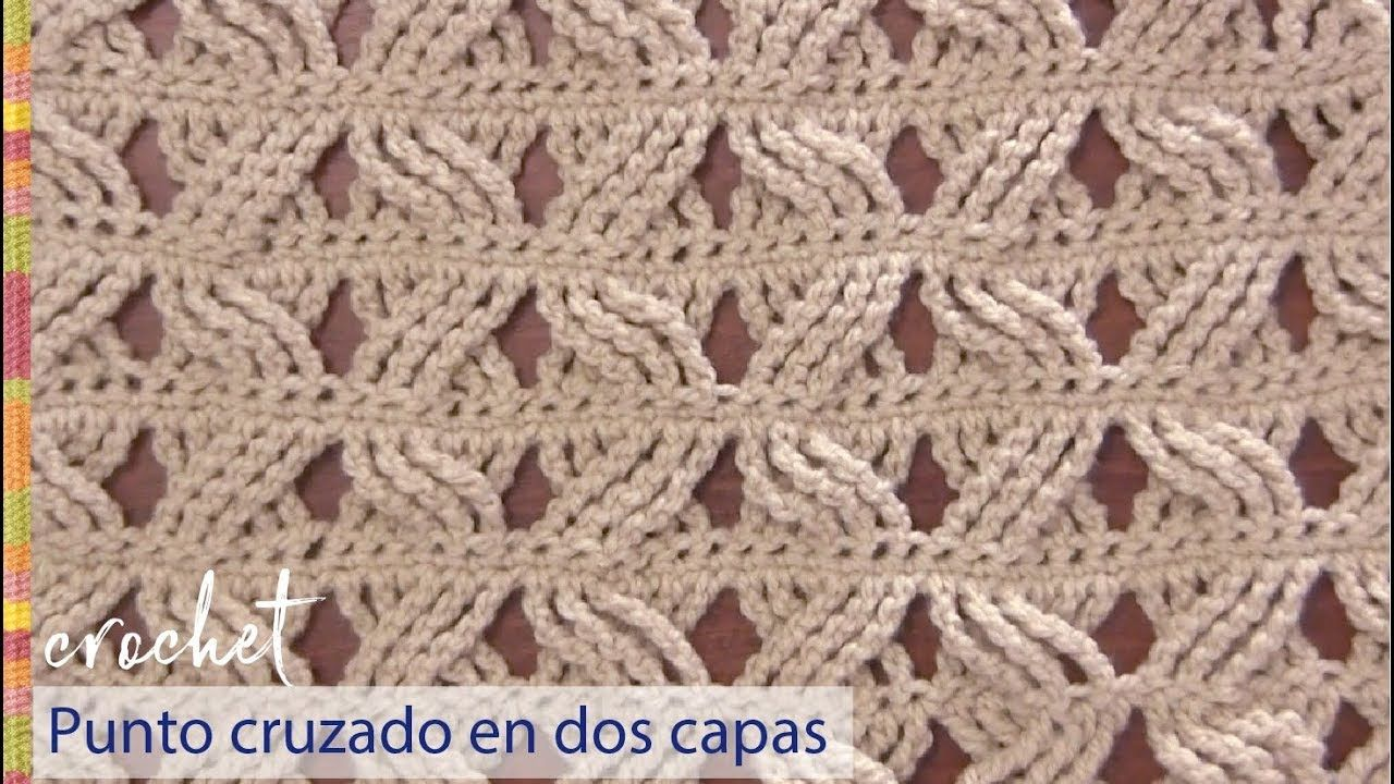 Punto cruzado en 2 capas tejido a crochet / Tejiendo Perú - YouTube ...