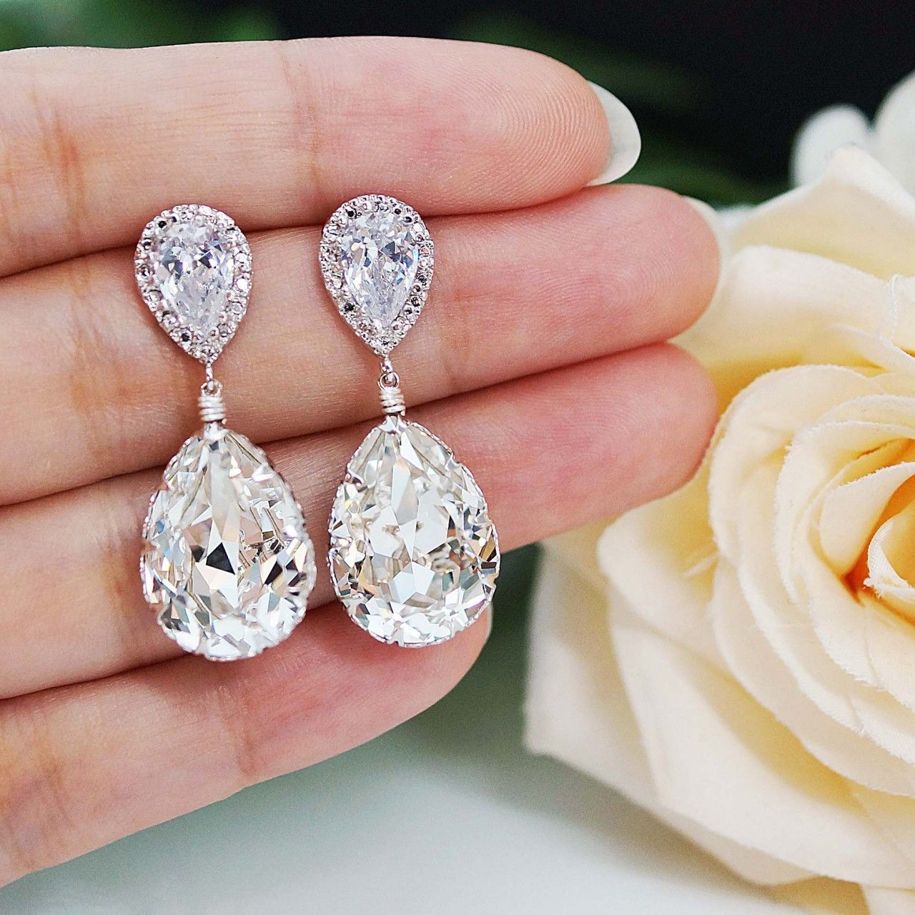 Clear White Swarovski Crystal Tear Drops Bridesmaid Earrings - Earrings Nation $29.99